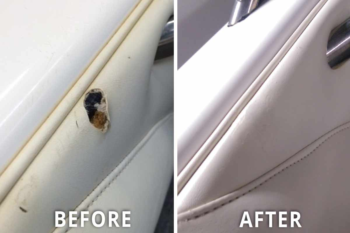large hole in boat vinyl before and after