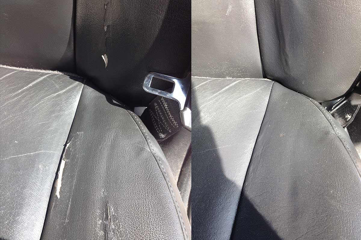 cracking leather seat before after repair