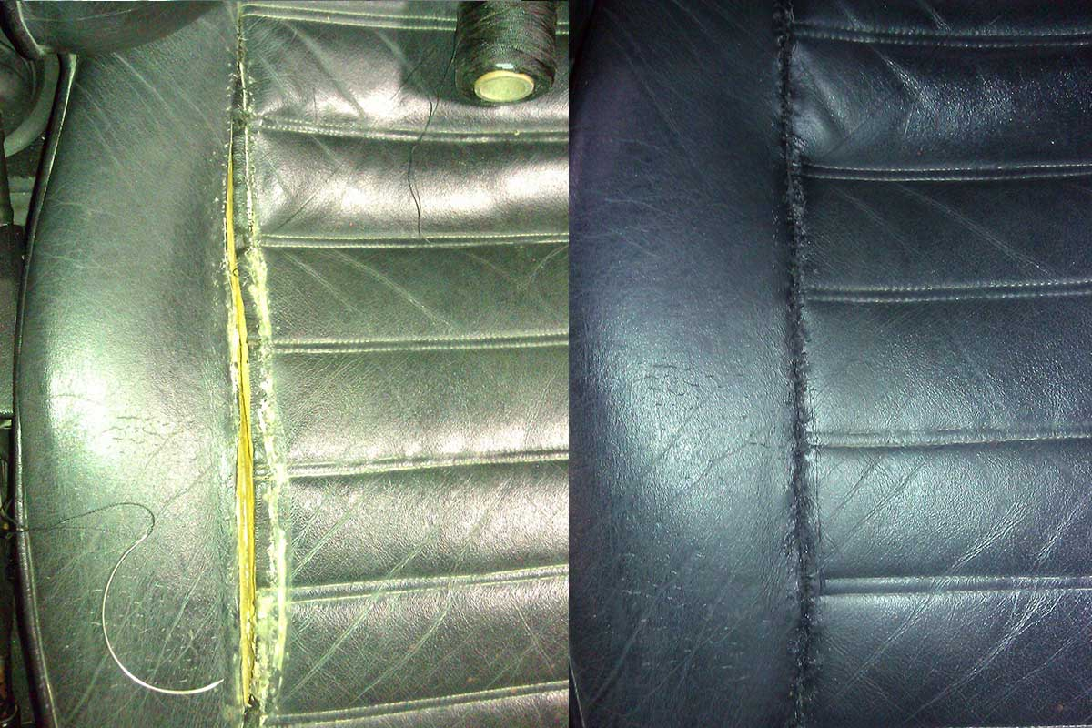 large seam rip in leather seat before after
