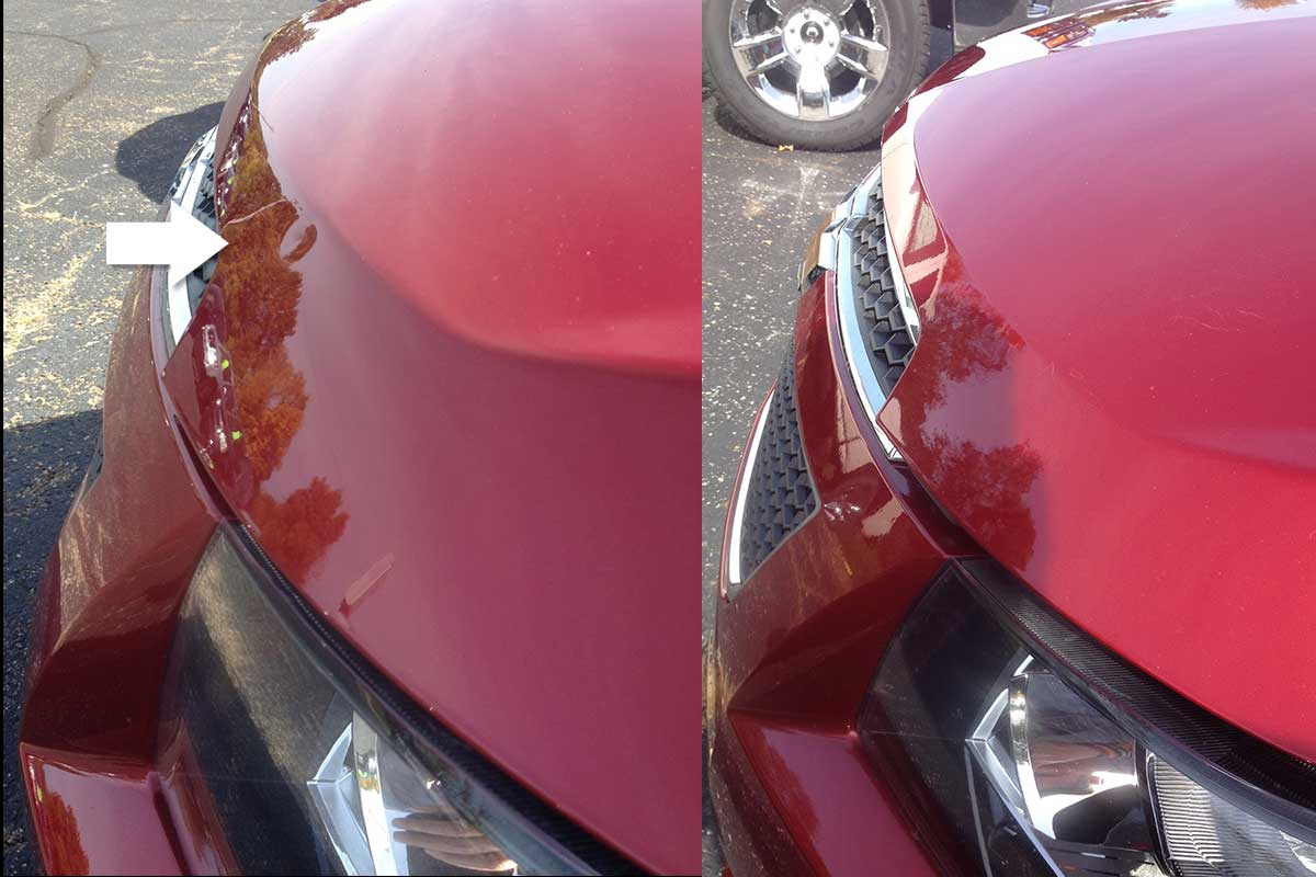 small dent in car hood fixed with PDR