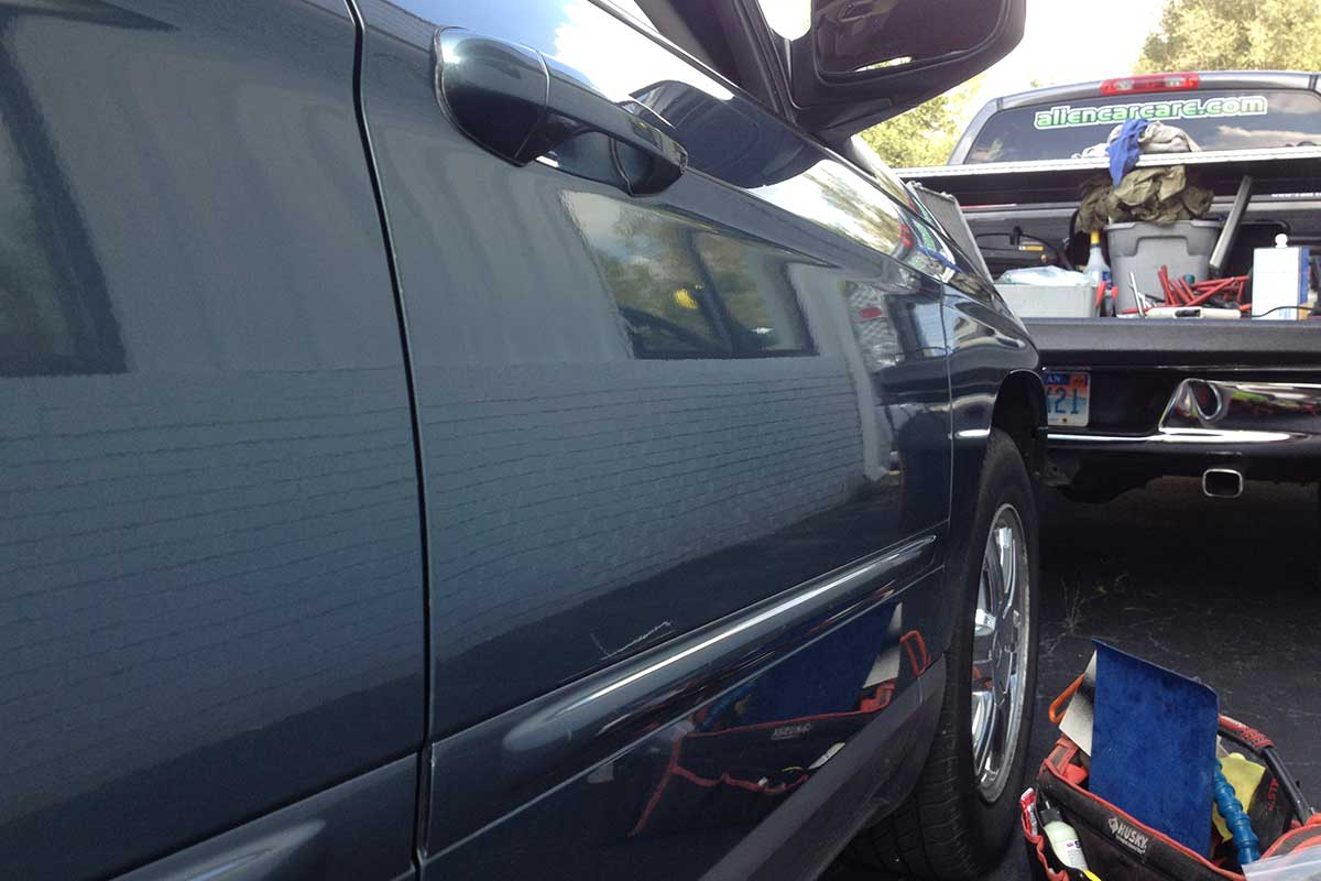 Paintless Dent Removal on truck after