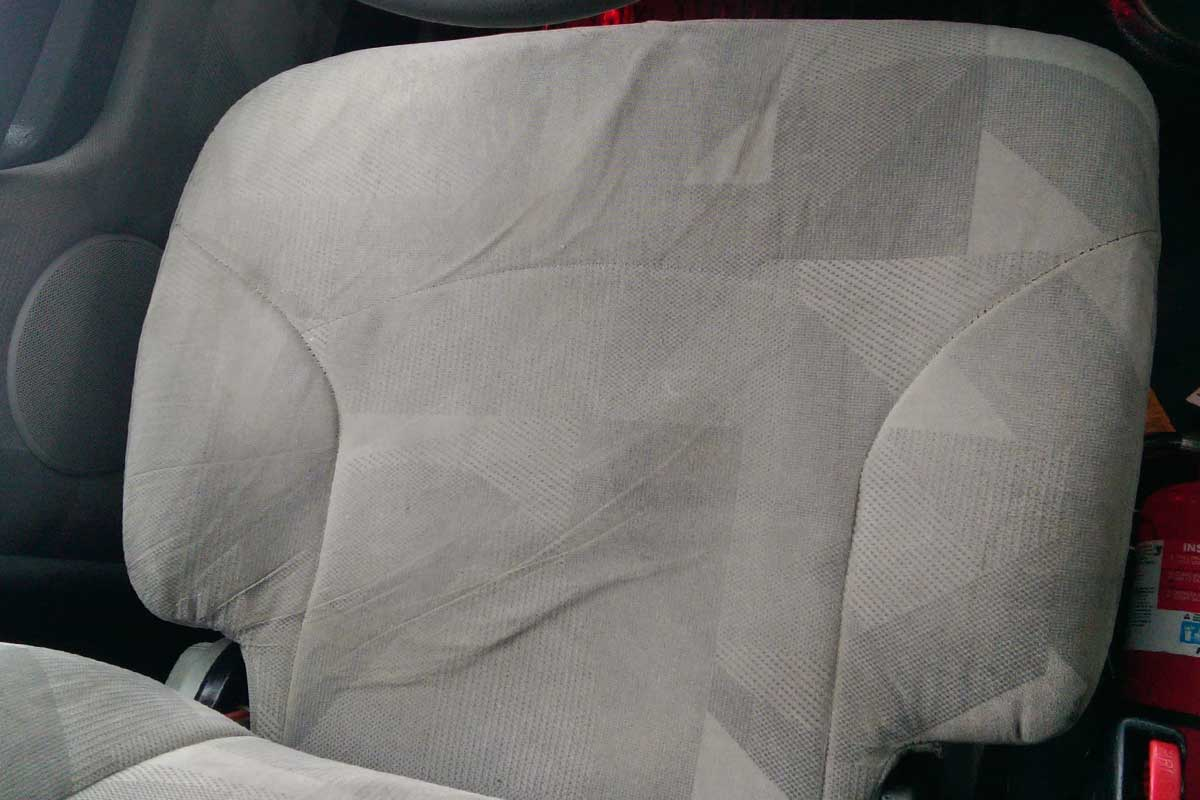 Stain removed from semi truck seat