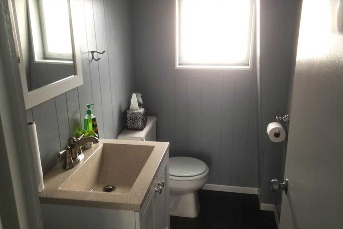 gray clean shop bathroom
