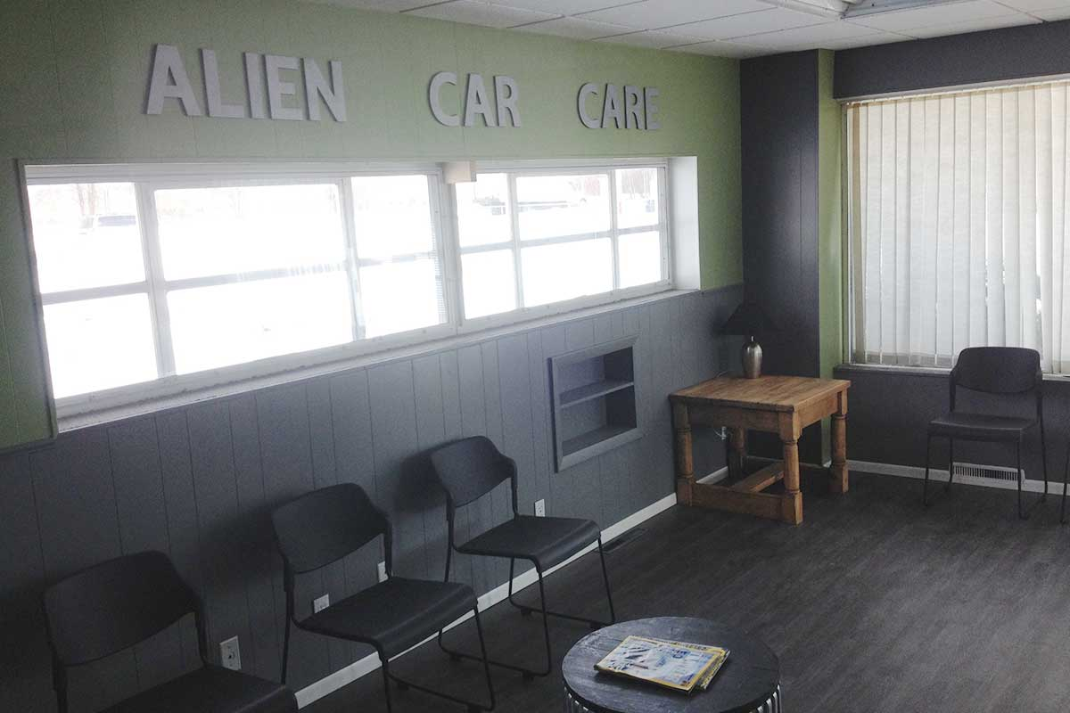 Alien car care shop interior