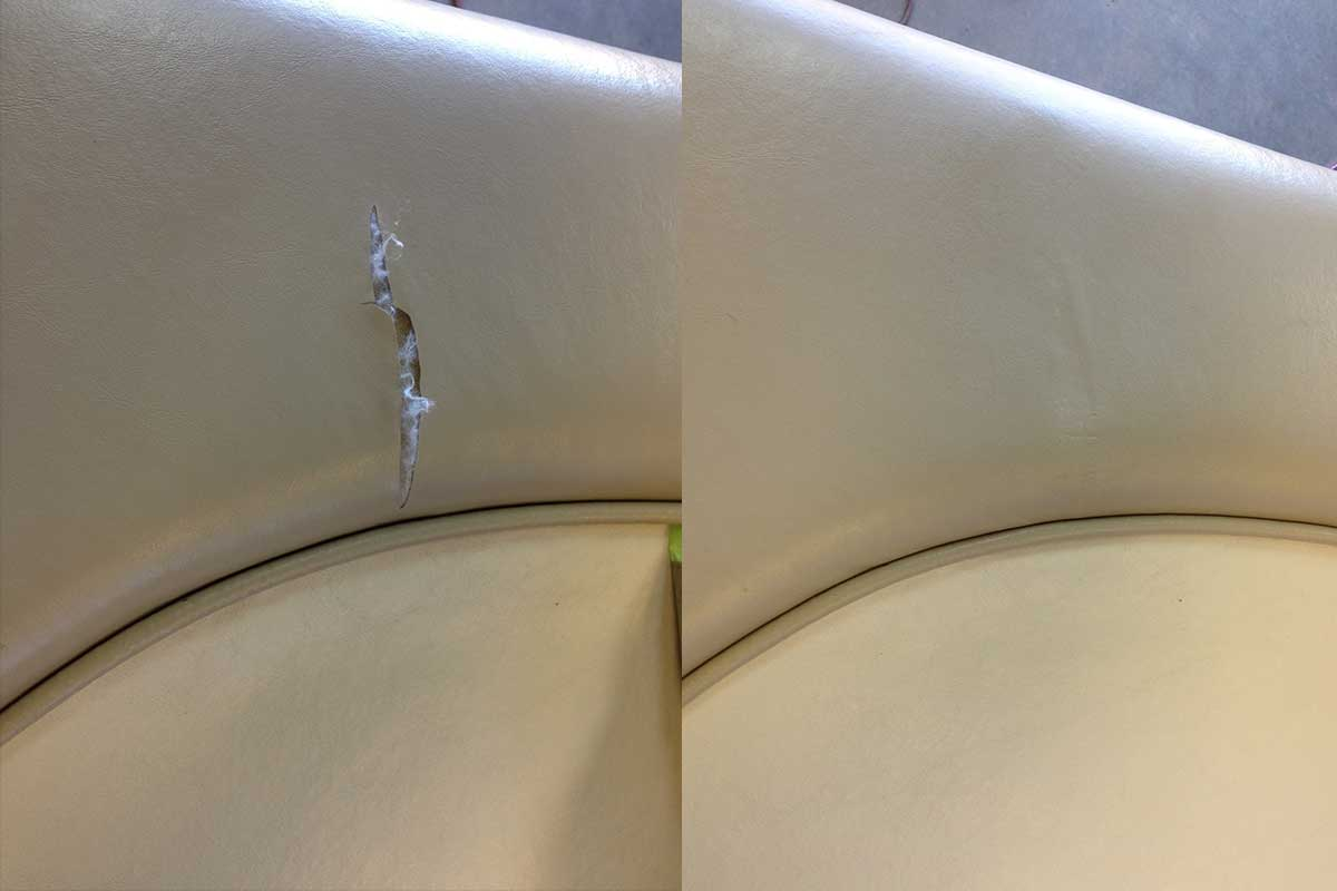 Before and After boat vinyl repair