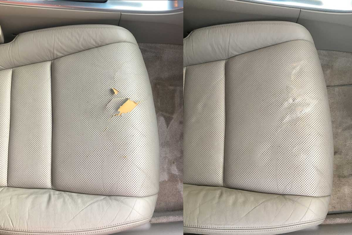leather care seat tear before and after