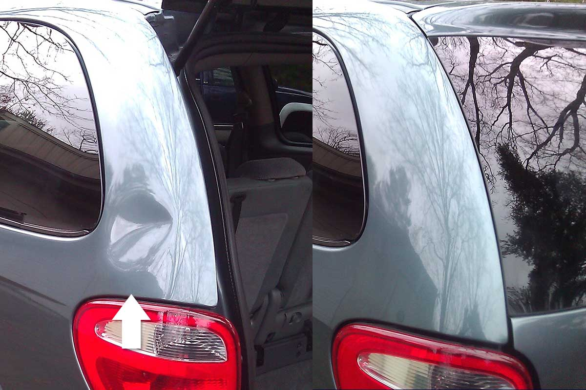 Large Dent on Van before and after PDR