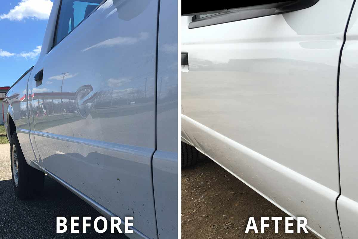 white truck paintless dent removal before and after