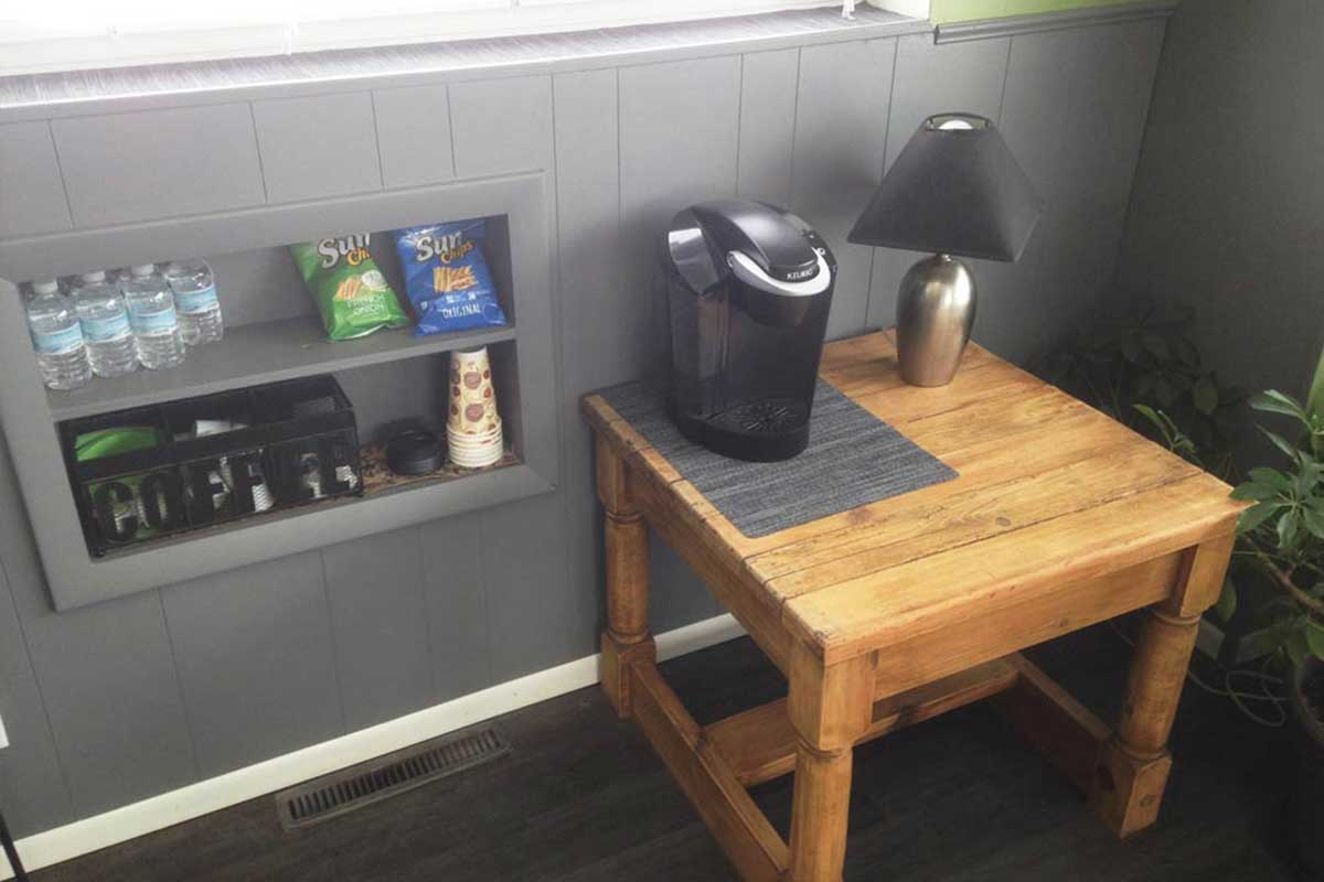 coffee and snack area of shop