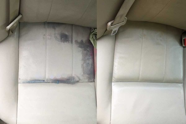 Stained leather seat before and after
